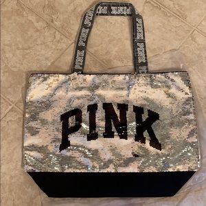 Pink sequin tote bag NWT large size zippered top
